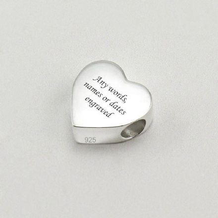 Sterling Silver Memorial Charm Bead, Heart.